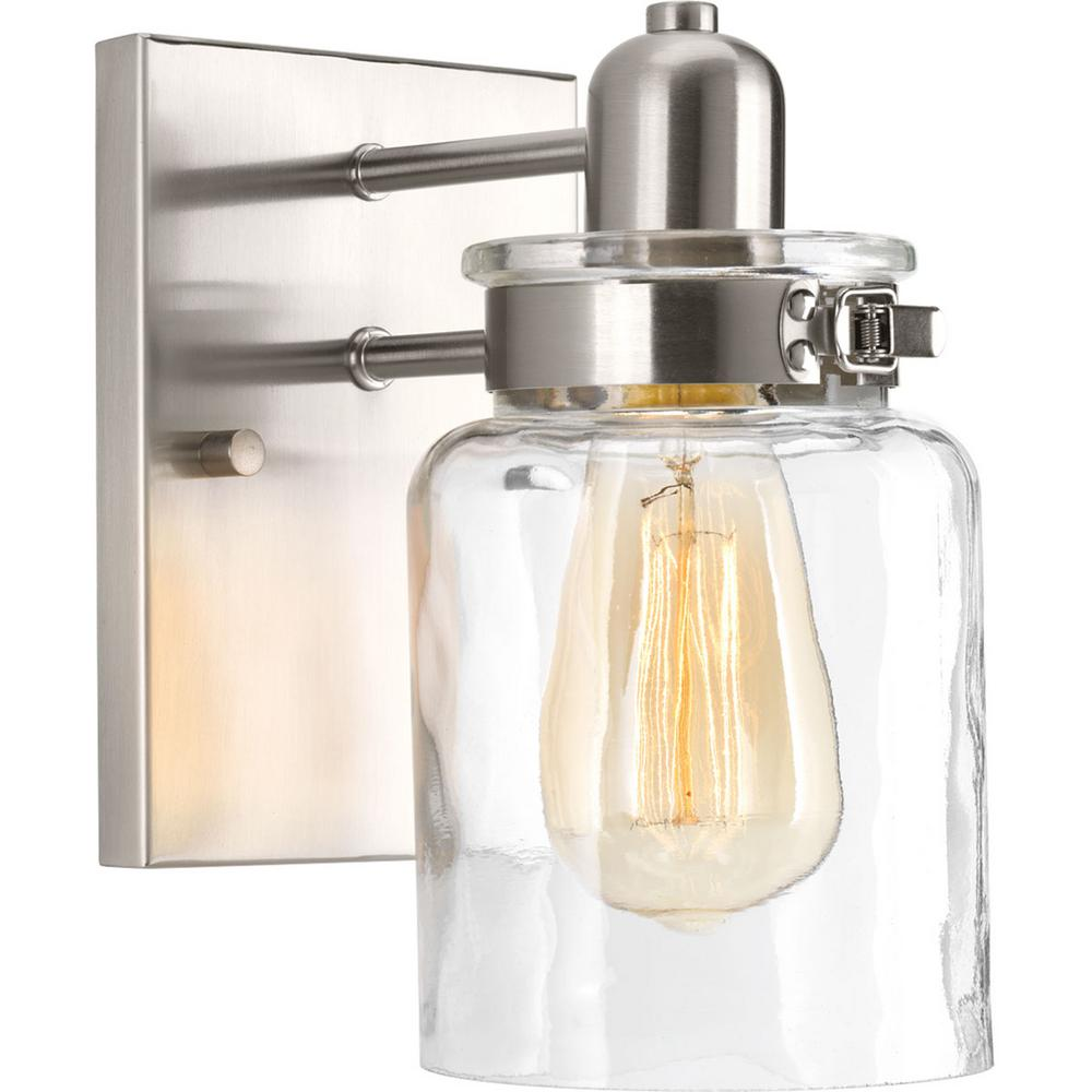 Calhoun Collection 1-Light Brushed Nickel Bath Sconce with Clear Glass Shade