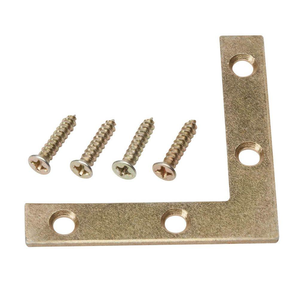 2 in. Satin Brass Flat Corner Brace (4-Pack)