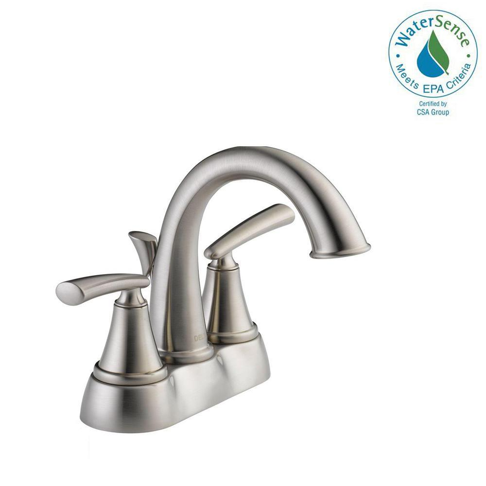 Delta Kennett 4 in. Centerset 2-Handle Bathroom Faucet in Brushed ...