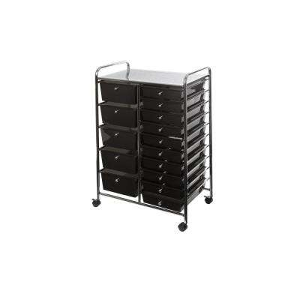 15-Drawer Organizer Cart in Black