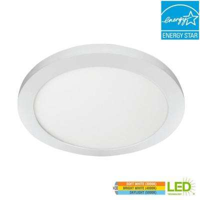 15 in. 22.5W Dimmable White Integrated LED Edge-Lit Round Flat Panel Ceiling Flush Mount Light with Color Changing CCT