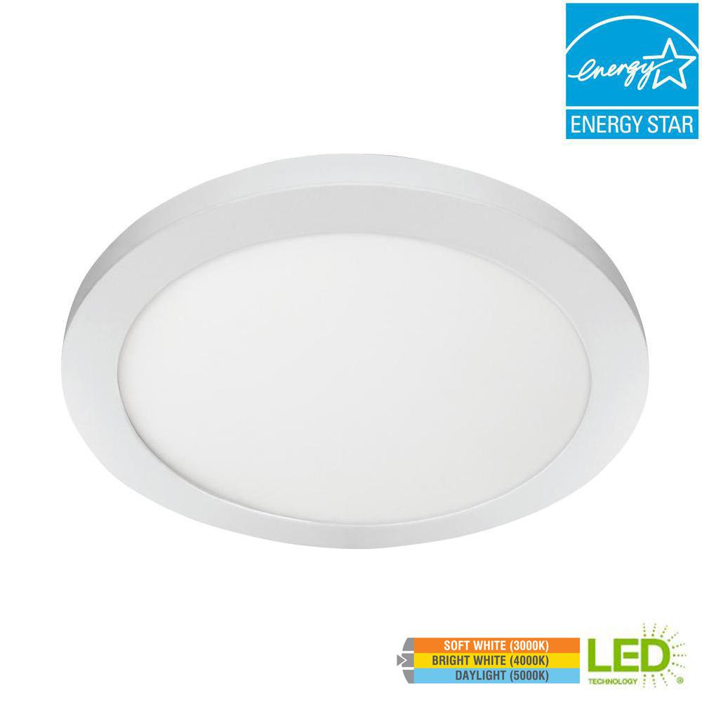 Commercial Electric 15 in. 22.5W Dimmable White Integrated LED Edge-Lit Round Flat Panel Flush Mount Ceiling Light with Color Changing CCT