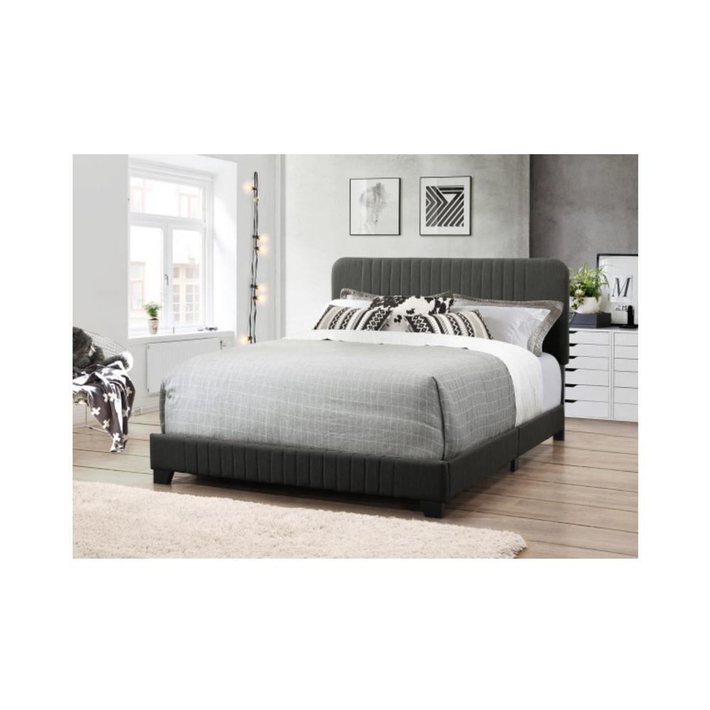 All-in-One Dark Gray King Bed with Channeled Headboard and Footboard