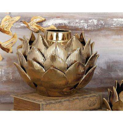 9 in. Ceramic Petals and Bud Decorative Vase in Gold