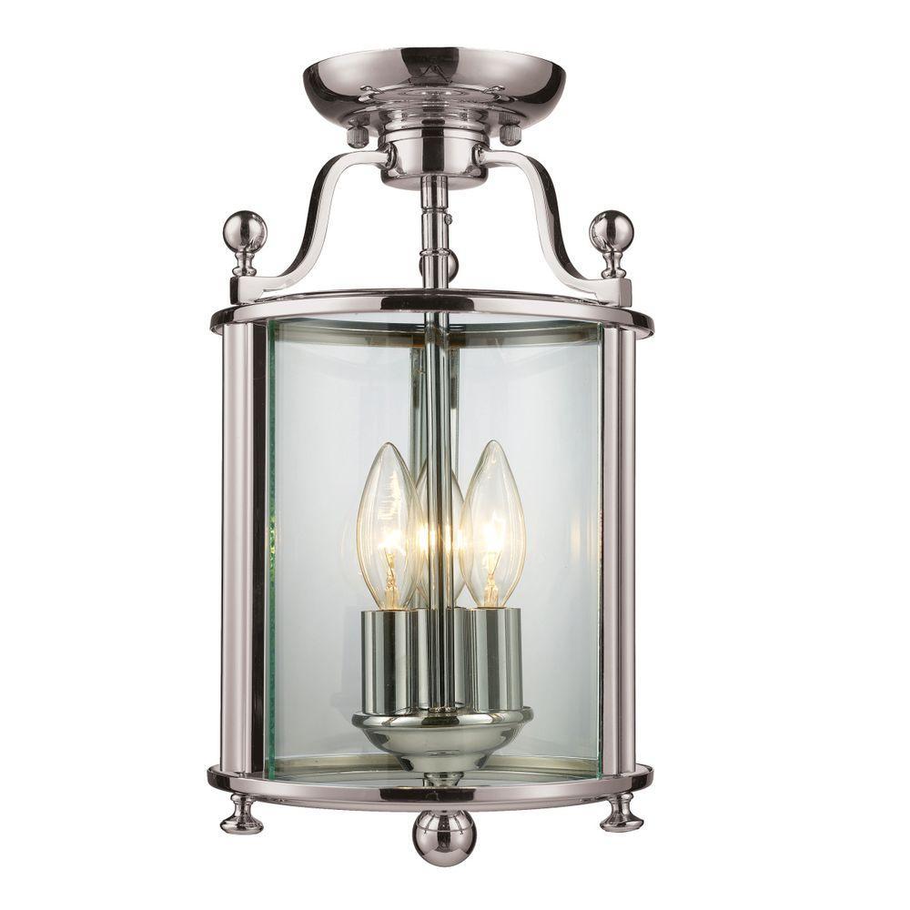 Palace 3-Light Brushed Nickel Semi-Flush Mount Light