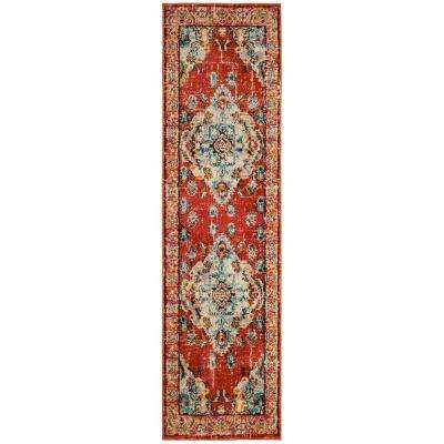 Monaco Orange/Light Blue 2 ft. 2 in. x 18 ft. Runner Rug