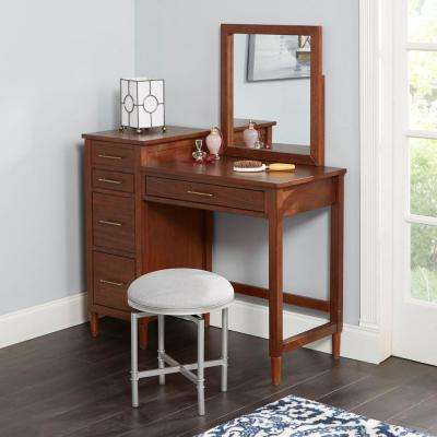 Scott Nickel and Gray Swivel Vanity Seat with Crossbar Footrest