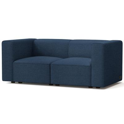 Node 66.4 in. Indigo Polyester 2-Seater Loveseat with Square Arms