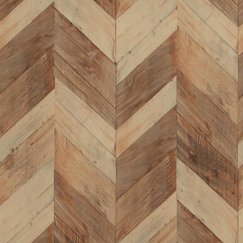 Wood Weathered Herringbone Brown and Beige Wallpaper