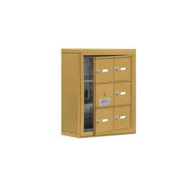 19100 Series 17.5 in. W x 20 in. H x 6.25 in. D 5 Doors Cell Phone Locker S-Mount Keyed Locks in Gold