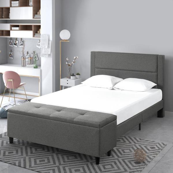 Zinus Wanda Platform Full Bed With Storage Footboard-HD-STPB-F - The Home Depot