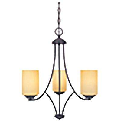 Marbella 3-Light Oil Rubbed Bronze Chandelier with Satin Bisque Glass Shades