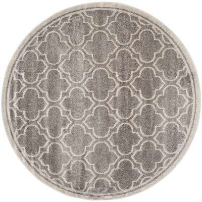 Amherst Gray/Light Gray 9 ft. x 9 ft. Indoor/Outdoor Round Area Rug