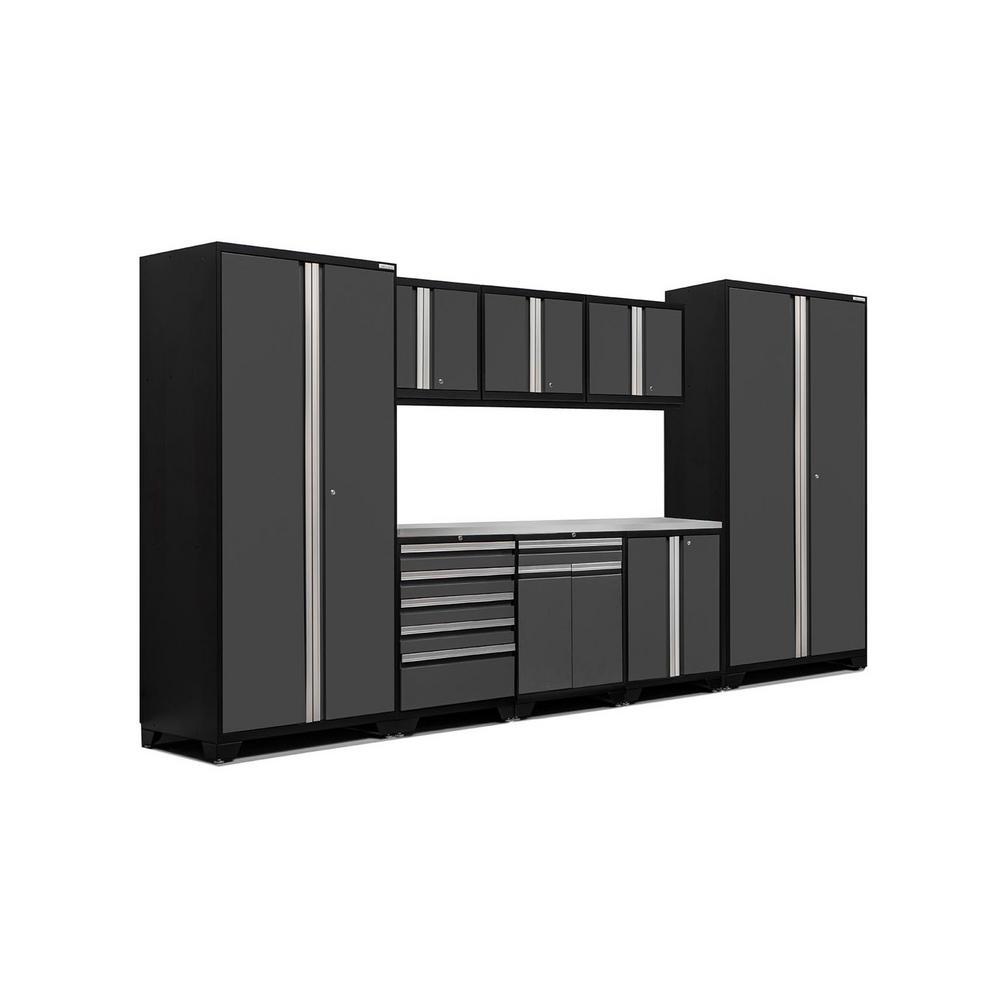 Pro 3.0 85 in. H x 156 in. W x 24 in. D 18-Gauge Welded Steel Stainless Steel Worktop Cabinet Set in Gray (9-Piece)