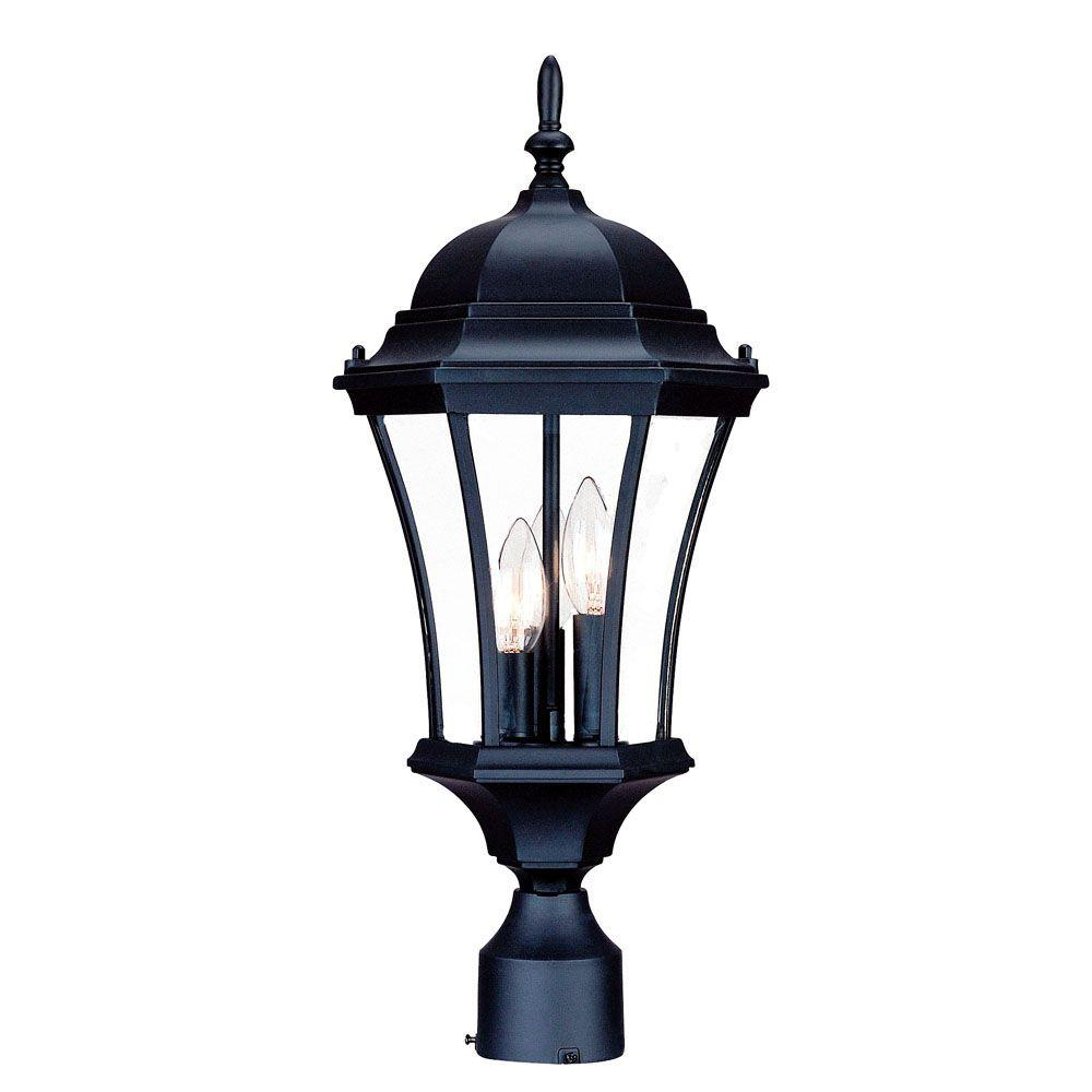 Acclaim lighting lanai collection post mount 3 light outdoor black brynmawr 3 light matte black outdoor post mount light fixture arubaitofo Images