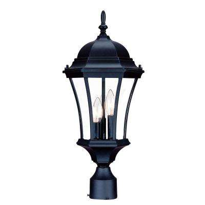 Brynmawr 3-Light Matte Black Outdoor Post-Mount Light Fixture