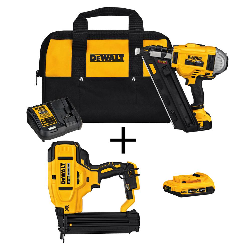DEWALT 20-Volt MAX Lithium-Ion Cordless Framing Nailer Kit with Bonus Bare 18-Gauge Brad Nailer and 2.0 Ah Battery