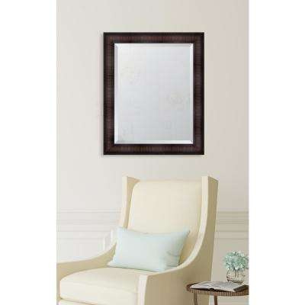 28 in. x 34 in. Walnut Resin Frame Mirror