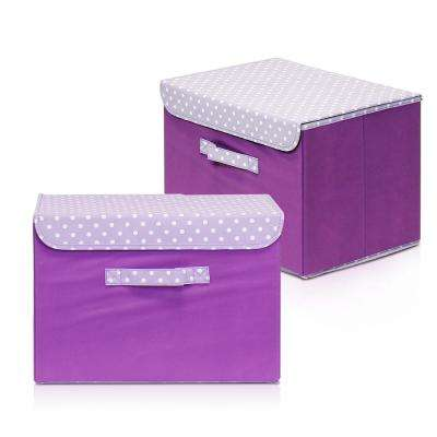 15 in. x 10.6 in. Non-Woven Fabric Purple Storage Bin with Lid (2-Pack)