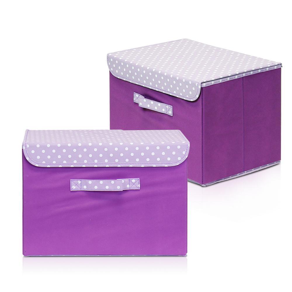 purple fabric storage boxes