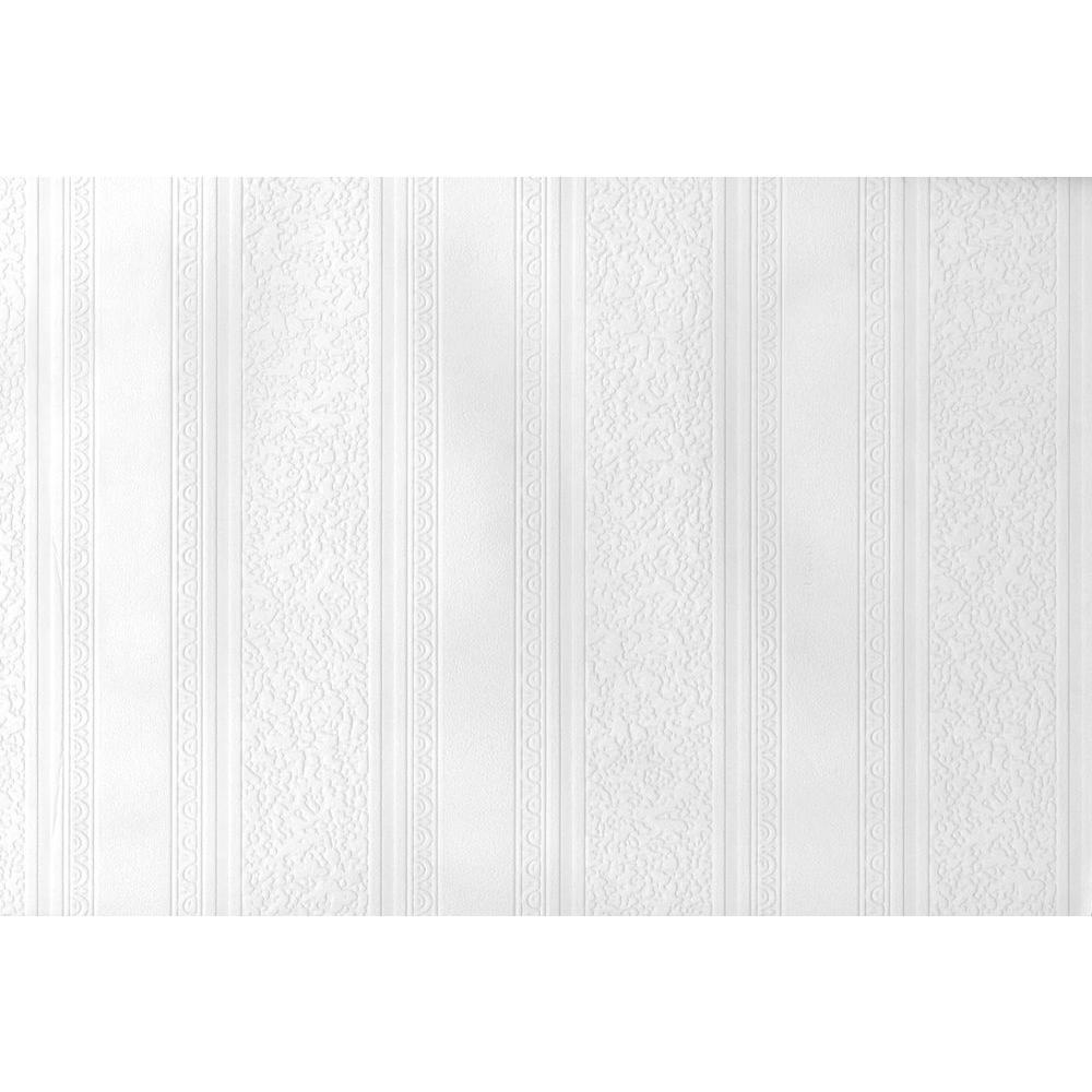 Paintable Dorothy Textured Stripe White & Off-White Wallpaper Sample