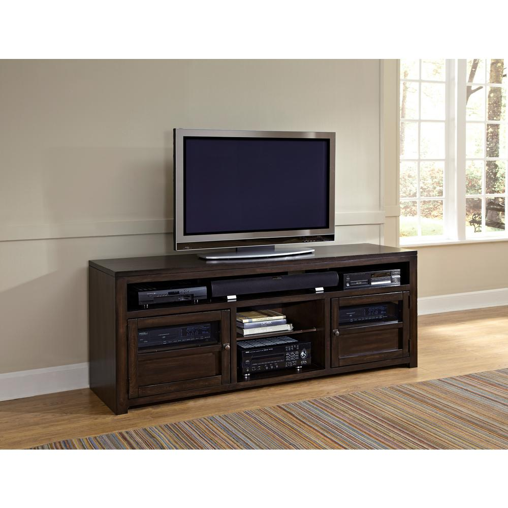 Triumph 74 in. Walnut and Brown Wood TV Stand Fits TVs Up to 80 in. with Storage Doors