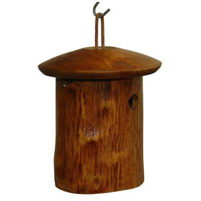 9 in. Mango Wood Natural Chickadee Bird House