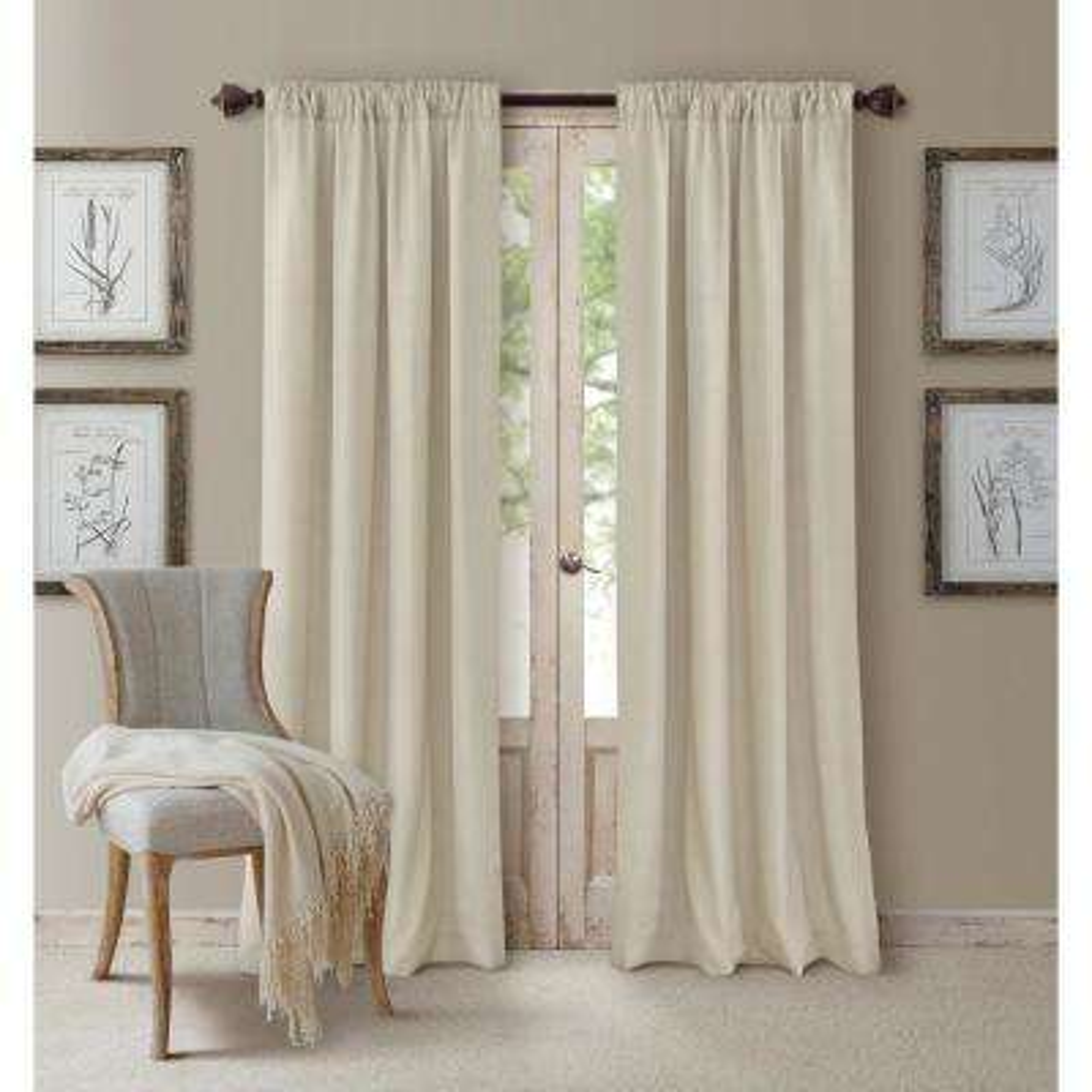 Blackout Cachet 52 in. W x 108 in. L Blackout Window Curtain Panel Ivory
