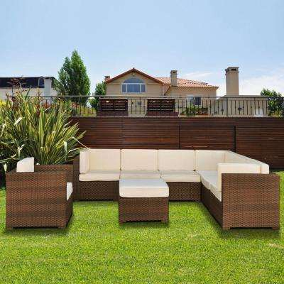 Marseille Brown 8-Piece Patio Sectional Seating Set with Off-White Cushions