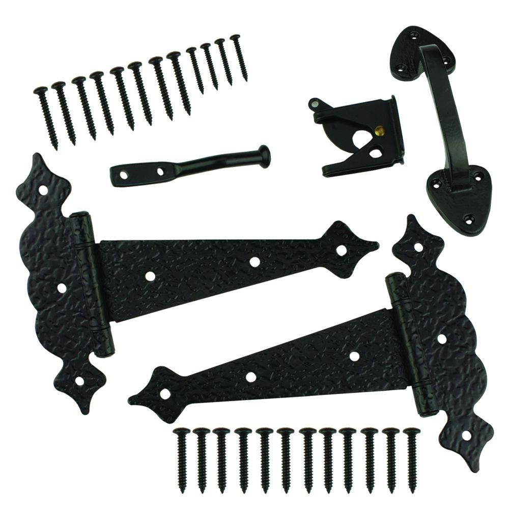 Black Decorative Gate Tee Hinge and Latch Set