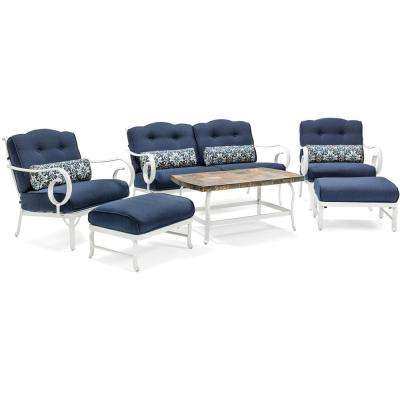 Oceana White Aluminum 6-Piece Patio Seating Set with a Stone-Top Coffee Table and Navy Blue Cushions