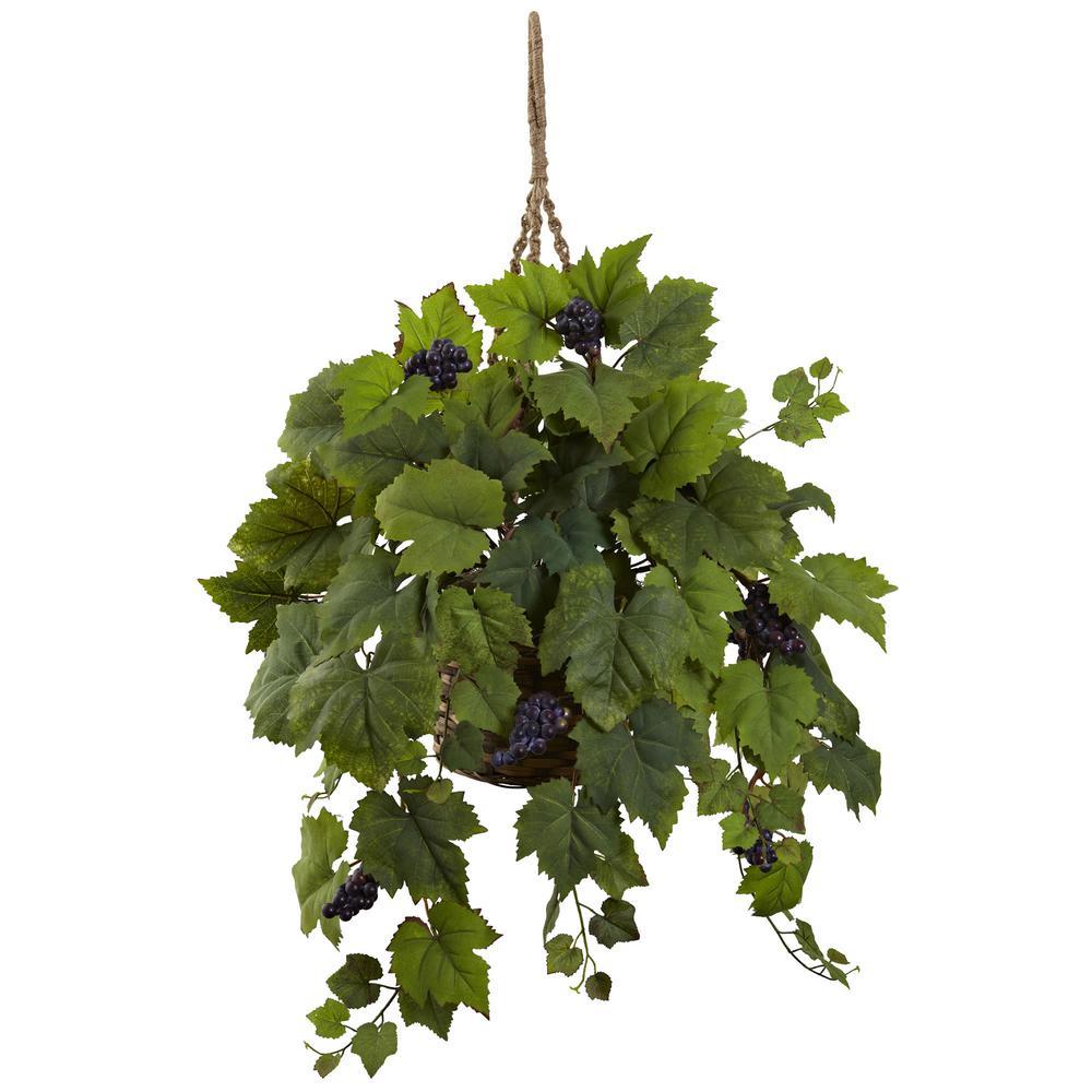 22 in. Grape Leaf Hanging Basket