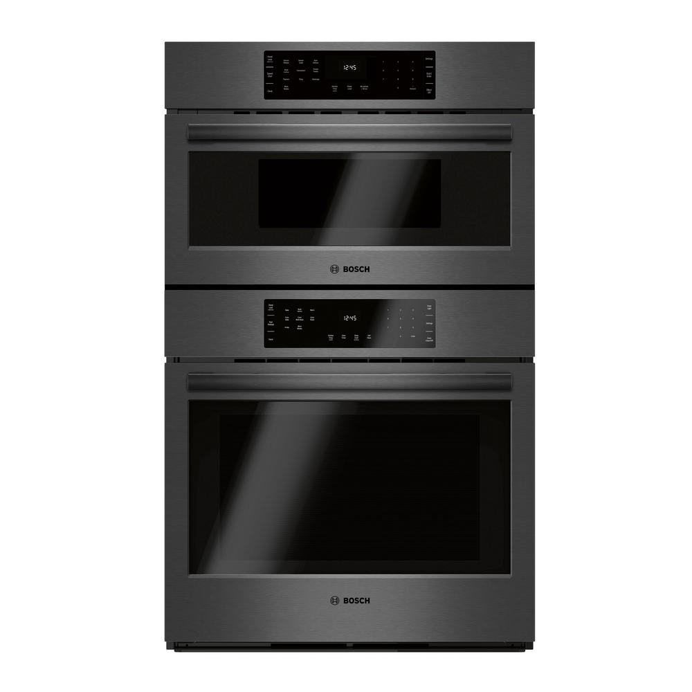 Bosch 800 Series 30 in. Combination Electric Wall Oven with European Convection and Speed Microwave in Black Stainless Steel A Bosch microwave oven combo offers versatile cooking in a convenient package. These large capacity built-in combination ovens offer convection cooking and fast pre-heating times. With speed, intuitive controls, large capacities and a clean aesthetic, Bosch microwaves and speed ovens lend a trusted hand in the kitchen when fitting cooking into your busy day. Color: Black Stainless Steel.