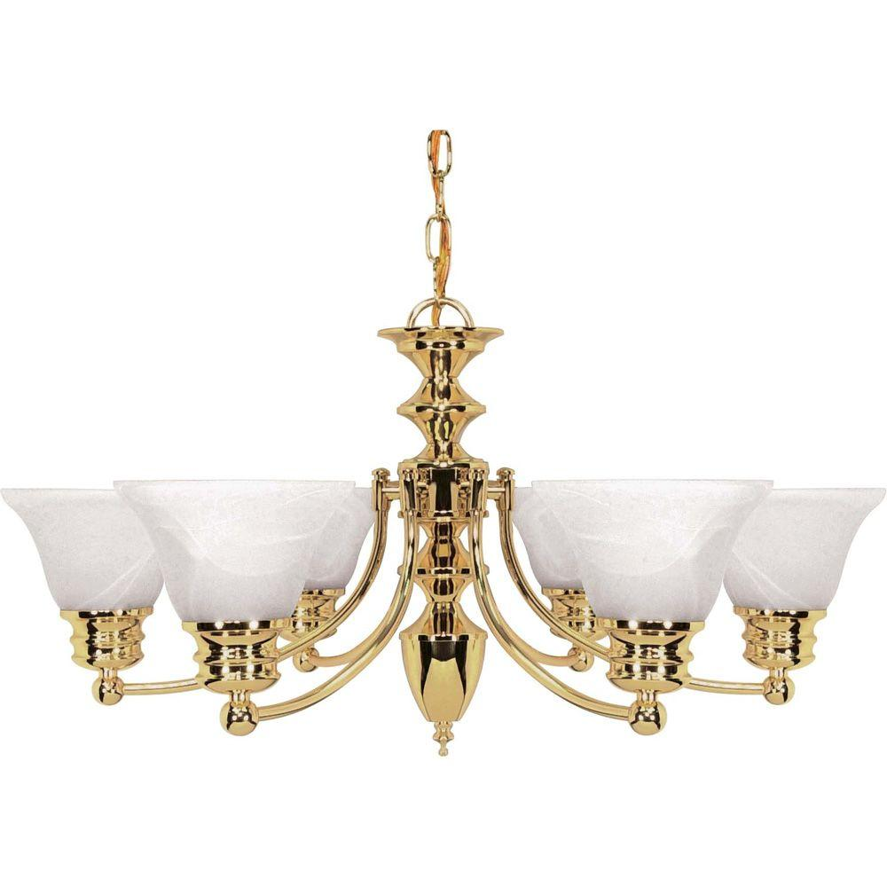 Glomar Nuwa 6 Light Polished Brass Chandelier With Alabaster Glass