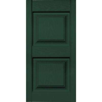 15 in. x 31 in. Raised Panel Vinyl Exterior Shutters Pair in #122 Midnight Green