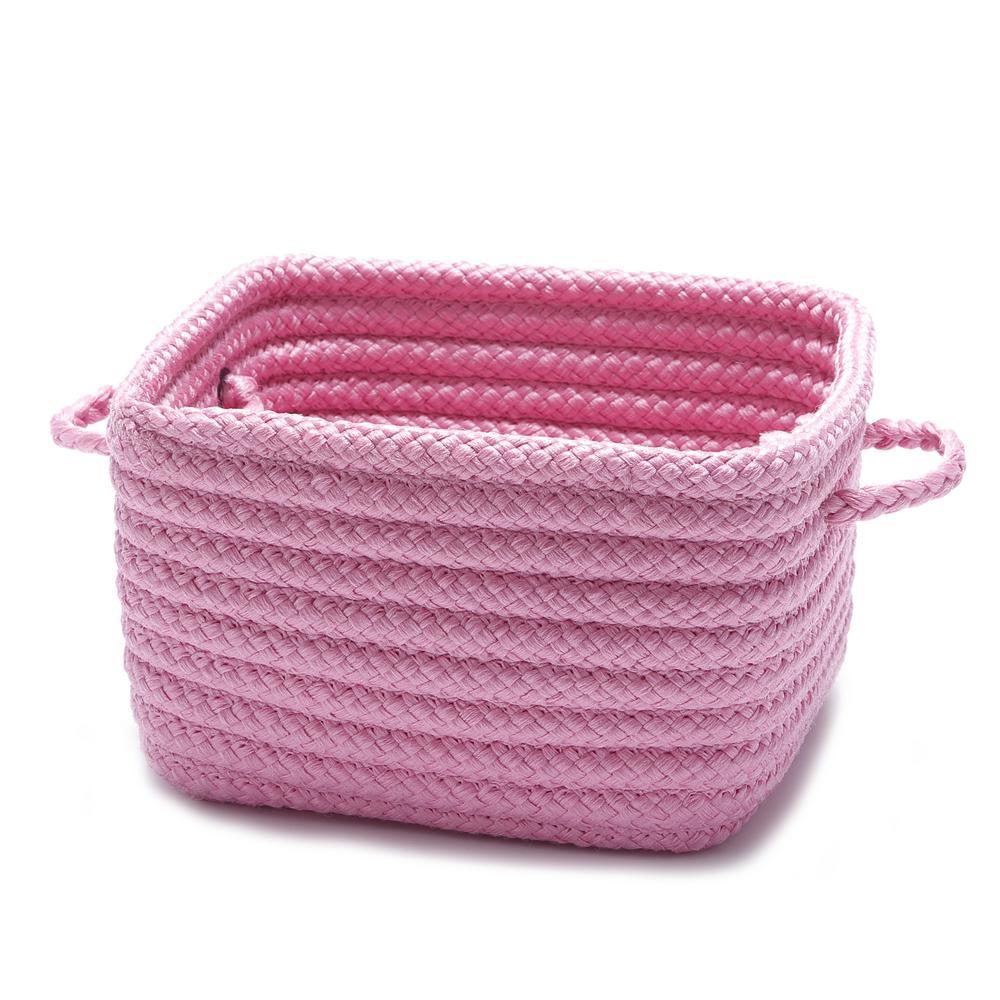 Solid Shelf Square Polypropylene Storage Basket Pink