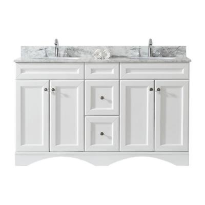 Virtu USA Talisa 60 in. W Double Bath Vanity in White with Marble Vanity Top and Round Basin with Faucet