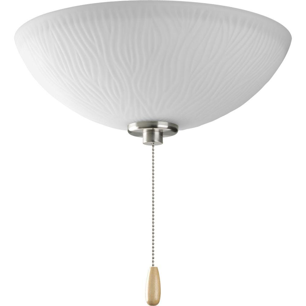 Progress Lighting Riverside Collection 3-Light Brushed Nickel Ceiling Fan Light