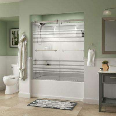 Crestfield 60 in. x 58-3/4 in. Semi-Frameless Contemporary Sliding Bathtub Door in Nickel with Transition Glass
