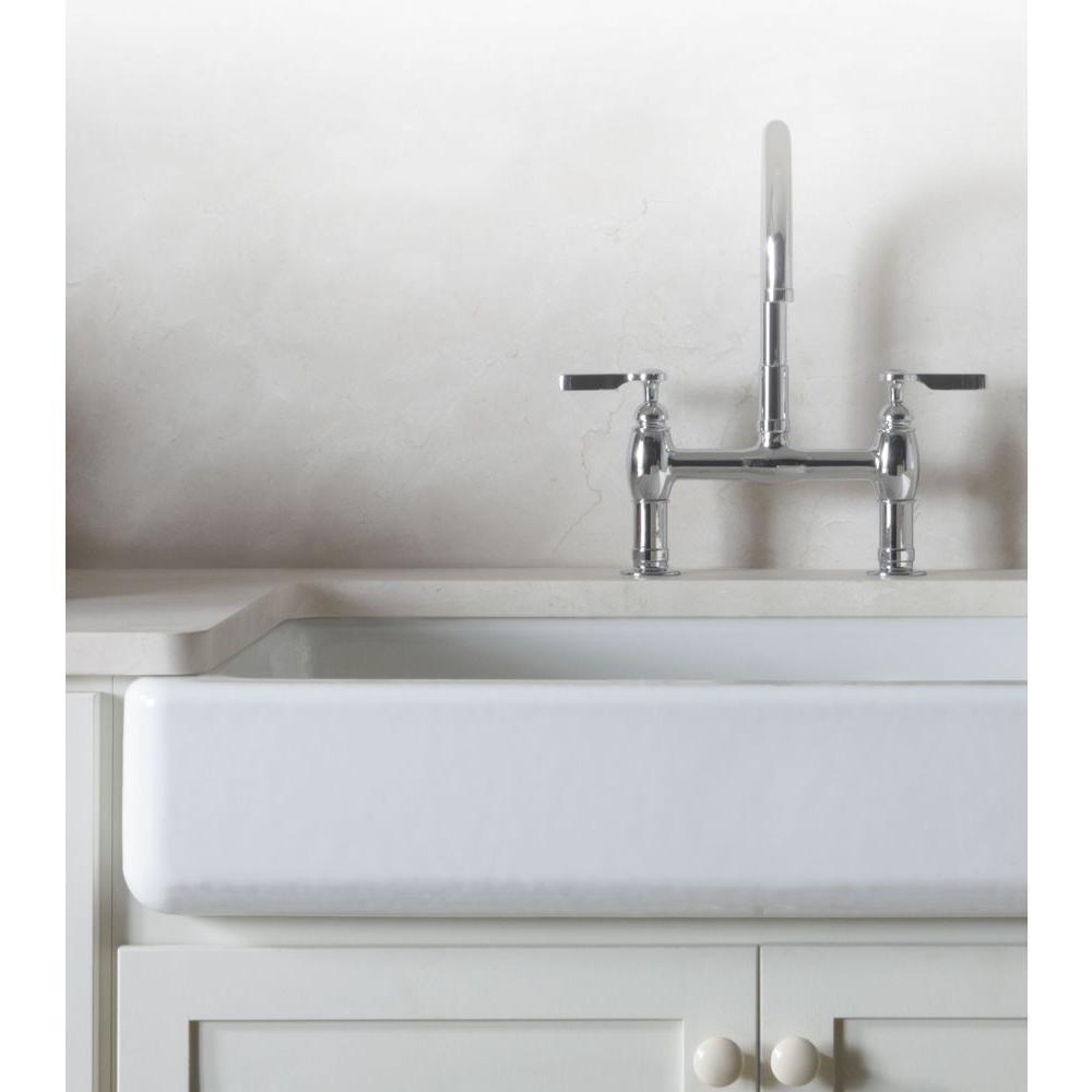 Parq Deck-Mount 12 in. 2-Handle Mid-Arc Bridge Kitchen Faucet in Polished Chrome