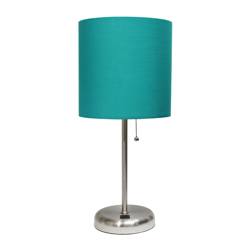 19.5 in. Teal Stick Lamp with USB Charging Port and Fabric Shade