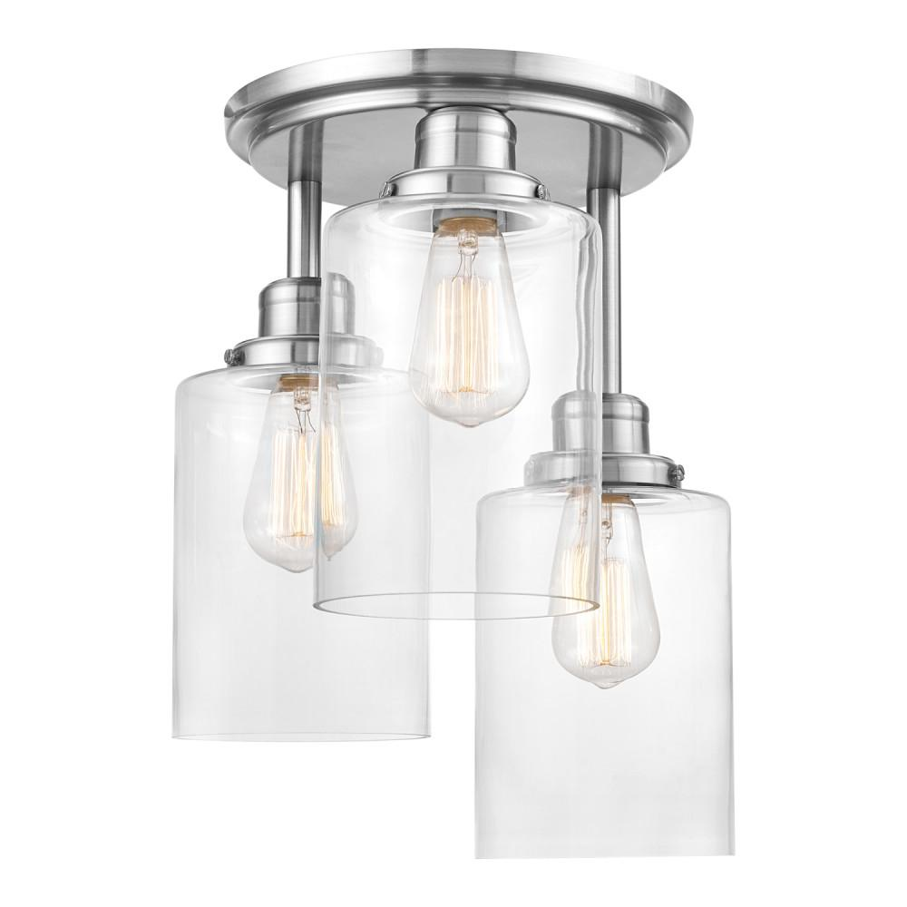 Globe Electric Annecy 3 Light Brushed Steel Semi Flush Mount Ceiling