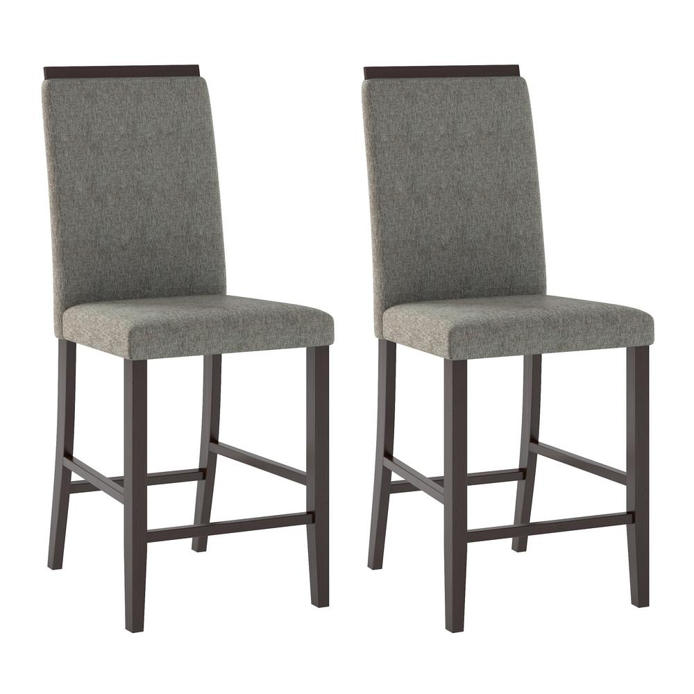 Bistro Pewter Grey Fabric Counter Height Dining Chairs (S...