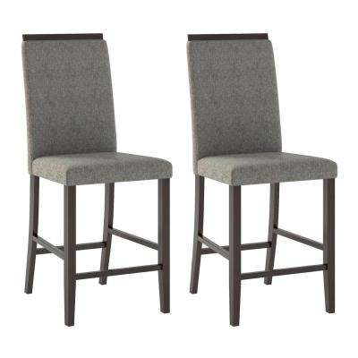 Bistro Pewter Grey Fabric Counter Height Dining Chairs (Set of 2)