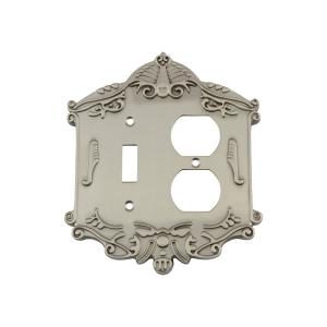 Nostalgic Warehouse Victorian Switch Plate with Toggle and Outlet in Satin... by Nostalgic Warehouse