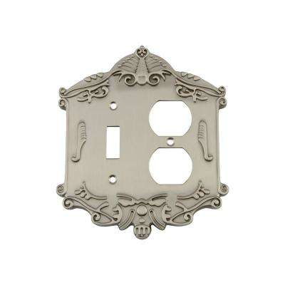 Victorian Switch Plate with Toggle and Outlet in Satin Nickel