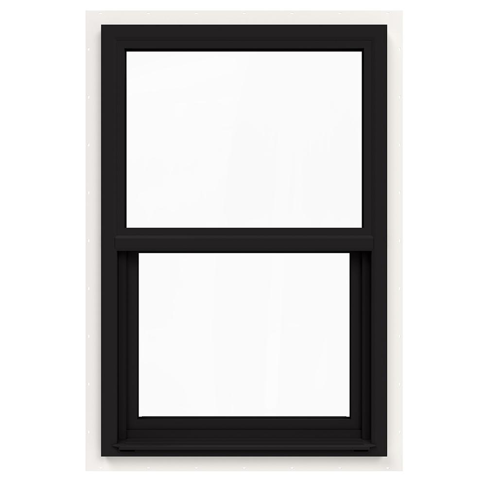 JELD-WEN 24 in. x 36 in. V-4500 Series Black FiniShield Single-Hung Vinyl Window with Fiberglass Mesh Screen