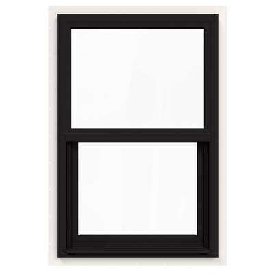 24 in. x 36 in. V-4500 Series Black FiniShield Single-Hung Vinyl Window with Fiberglass Mesh Screen