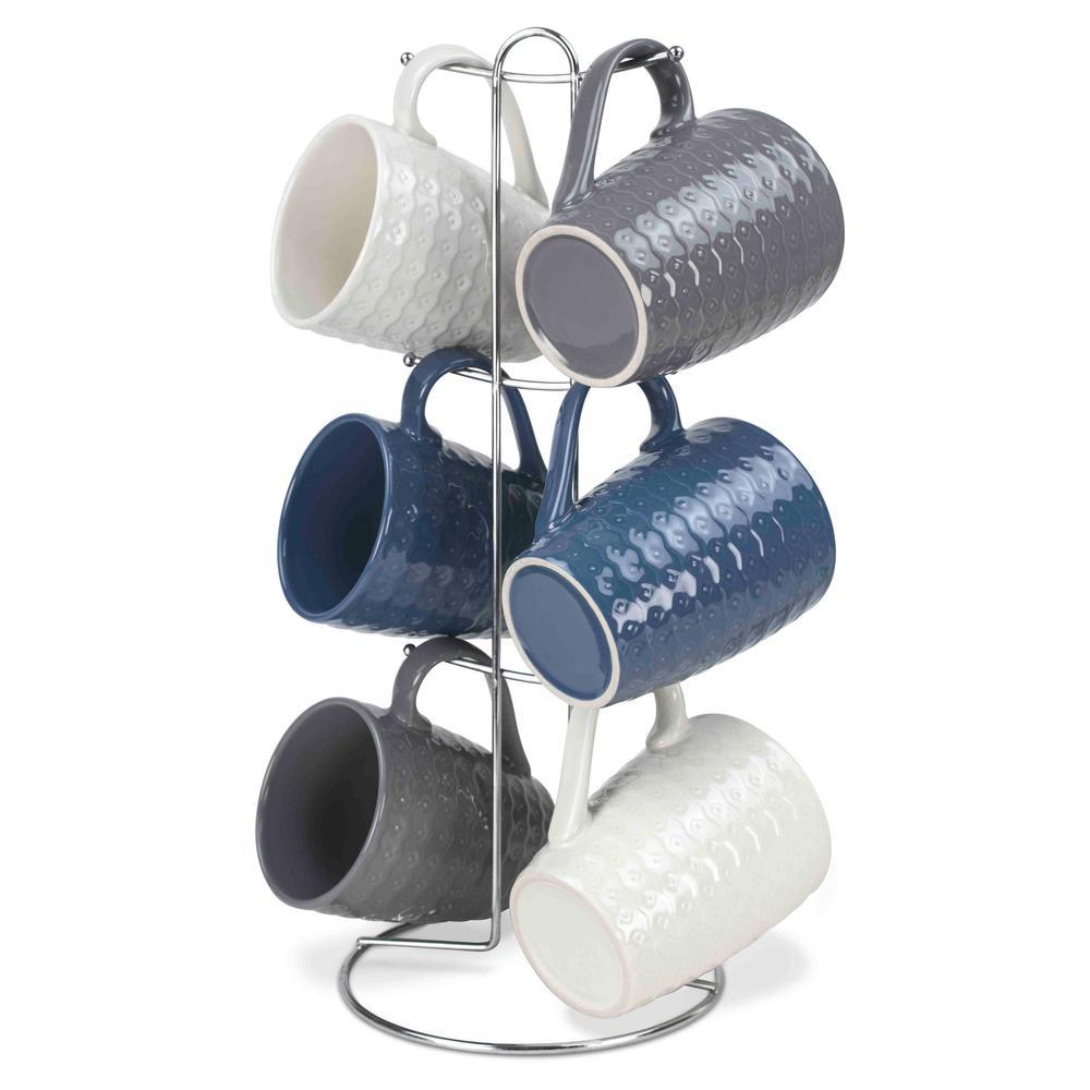 11 oz. Stoneware 6 Piece Mug Set in Crochet