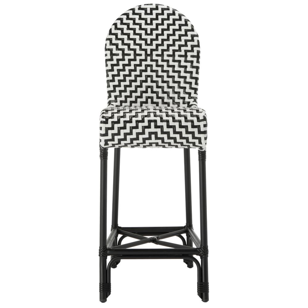 Safavieh Tilden Black And White Wicker Outdoor Bar Stool